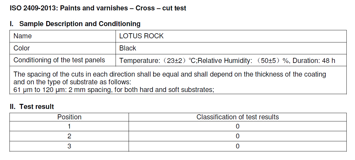 Lotus Rock Cross Cut Adhesion Test Result