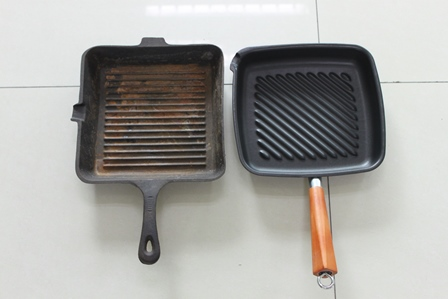 An Uncoated Cast Iron and Lotus Rock Grill Pan